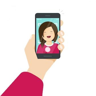 スマートフォンや携帯電話や自分の写真のベクトル図を介してselfie