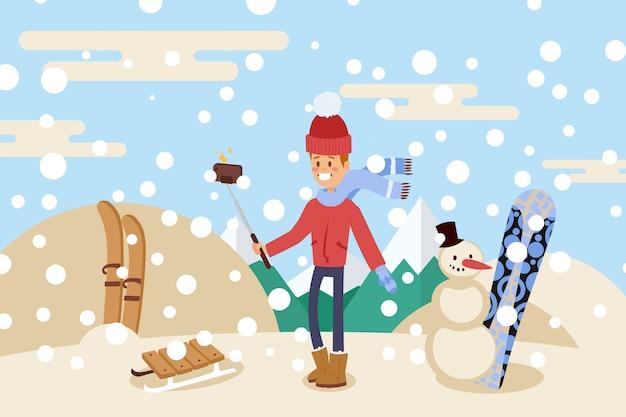 Парень принимает selfie на снежной верхней горе, иллюстрации людей. зимнее хобби, сноуборд, лыжи, санки и снеговик.