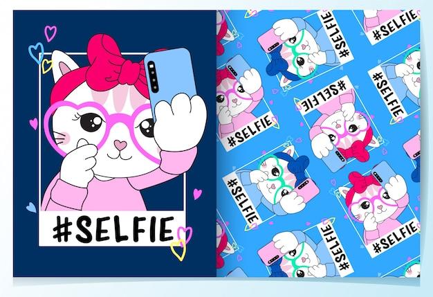 Нарисованный рукой комплект картины милого кота selfie