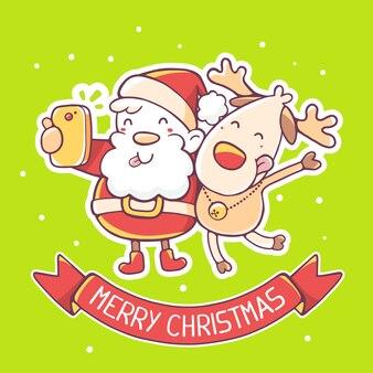 サンタクロースとトナカイのイラストは赤いリボンでselfieを作る