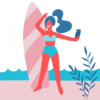 Красивая девушка, делая selfie с доской для серфинга на пляже с пальмовых листьев, солнце. летний отпуск. женщина в купальнике с мобильным телефоном. современная плоская иллюстрация