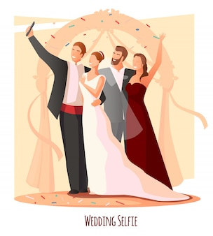 結婚式のお祝いselfieコンポジション