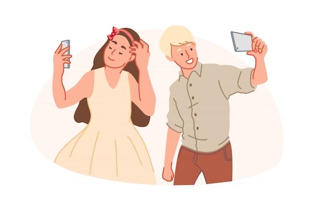 スマートフォン中毒、selfieの強迫観念、トレンディなライフスタイルコンセプト
