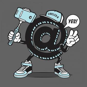 丸で囲まれた記号selfieキャラクター