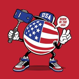 アメリカの国旗selfieキャラクターデザイン