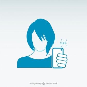 スマートフォンselfieを取る女性