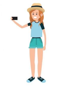 Selfie用のスマートフォンを使用しての女性
