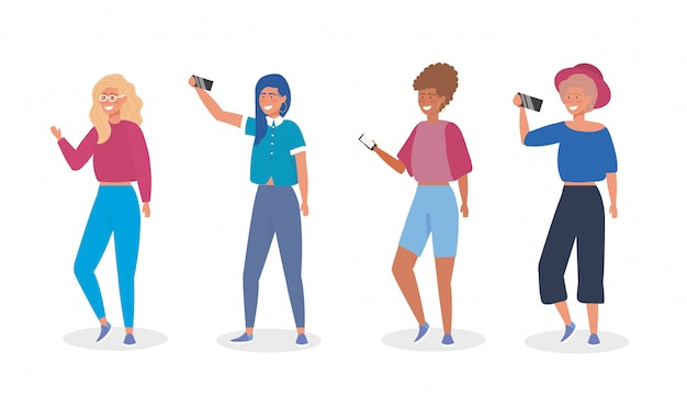 カジュアルな服装とスマートフォンselfieを持つ女の子のセット