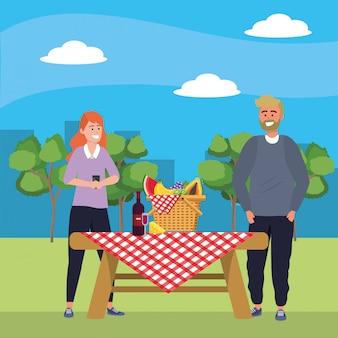 Selfieピクニックを取る千年夫婦のスマートフォン