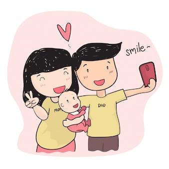 赤ちゃんとselfie写真を撮る幸せな家族の若い親