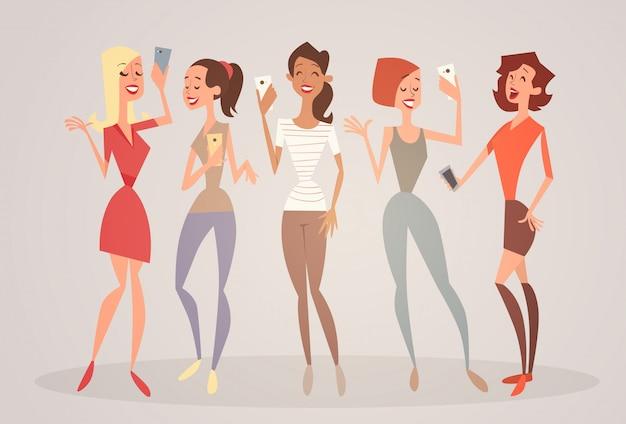 Девушка группа, принимая selfie фото на мобильный смартфон молодой мультфильм женщина улыбается