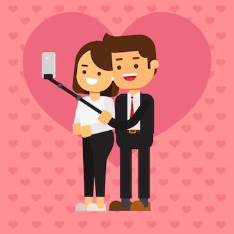 Selfieを作る愛のカップル