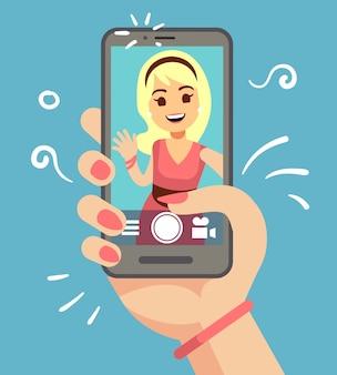 屋外のスマートフォンでselfie写真を撮る若い魅力的な女性。電話の画面上の美しい少女の肖像画。漫画のベクトル図