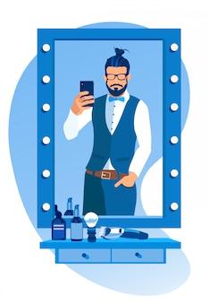 理髪店で鏡でselfieを作るひげを生やした男