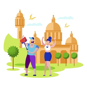 Selfieを作るインドへの旅行幸せなカップル