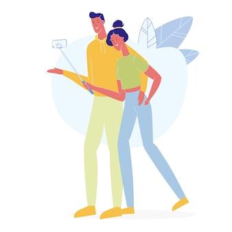 Selfieフラットを取って愛のカップル