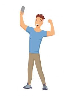 立っている若い男とselfieコンセプトフラットスタイルの携帯電話のカメラでセルフポートレートを作る