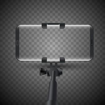 スマートフォンと一脚selfieスティックのベクトルイラスト。