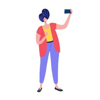 Человек принимает selfie на смартфоне с пальцем вверх