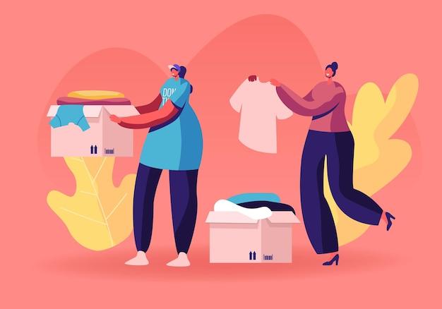 Самоотверженные добрые женщины-волонтеры в футболках с эмблемой благотворительной организации собирают одежду для уличных нищих. мультфильм плоский иллюстрация