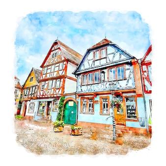 Seligenstadt 독일 수채화 스케치 손으로 그린 그림