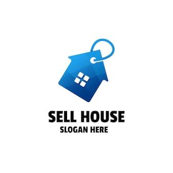 家のグラデーションのロゴのテンプレートを販売する
