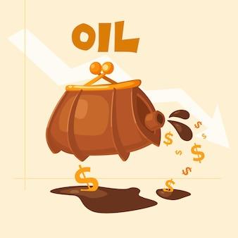 石油を低価格で売る。石油のバレル。漫画風の概念図。