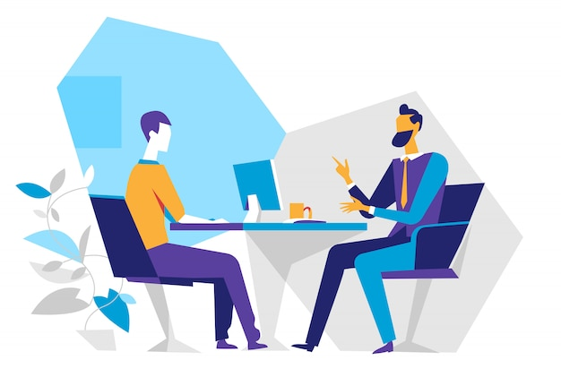 オフィスの売り手と顧客、就職の面接、