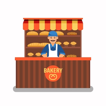 Seller at bakery stand color vector illustration