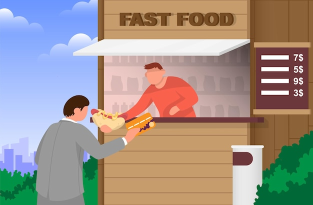 The seller at the fastfood stand gives a hot dog man in suit pays card concept for street food