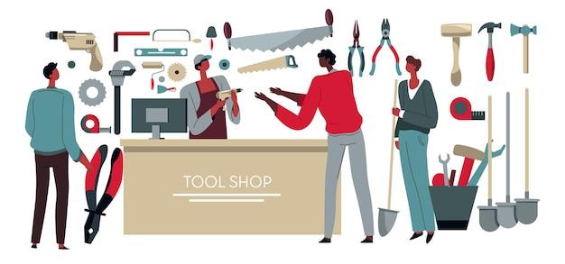 顧客に生産を販売するツールショップの売り手。男性労働者のためのモールでの買い物、修理のためのハードウェアと器具。フラットで地元の店のベクトルで製品を購入し、電化製品を購入する人々