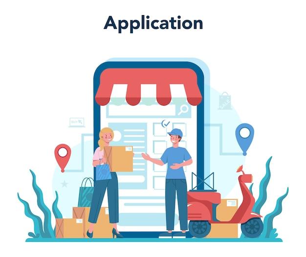 Seller online service or platform. Premium Vector