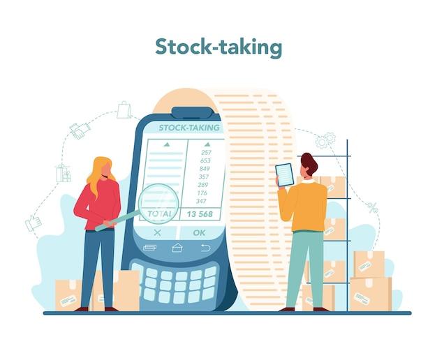 売り手のストックタックの概念。スーパーマーケット、ショップ、店のプロの労働者。