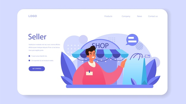 Seller web banner or landing page. professional worker in the supermarket, shop, store. stocktacking, merchandising, cash accounting and client service. vector illustration Premium Vector