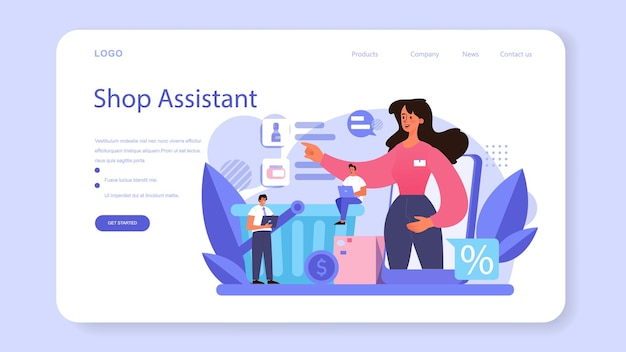 Seller web banner or landing page. professional worker in the supermarket, shop, store. stocktacking, merchandising, cash accounting and client service. vector illustration