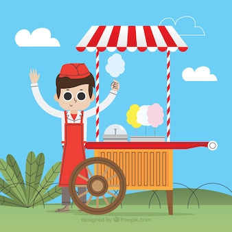 Seller with his cotton candy cart