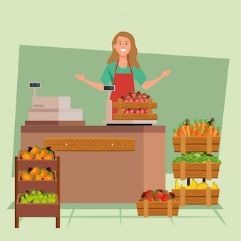 Seller woman illustration, shop store market shopping commerce retail buy and paying