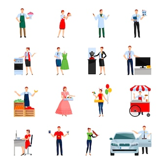 Sellers characters set with sale of flowers cars ice cream house feed for pet isolated vector illustration