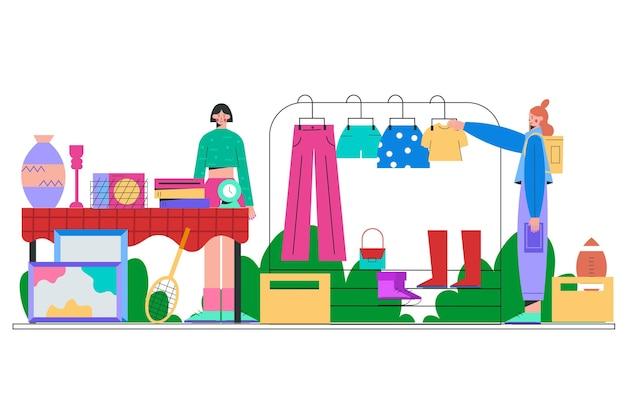 Vendita di vestiti al mercato delle pulci
