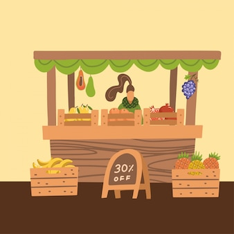 Selling of fresh fruits in the market, woman standing at market stall, retail sales of fresh homemade and tropical agricultural products. cartoon flat style  illustration.