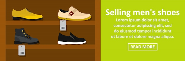 Selling mens shoes banner horizontal concept
