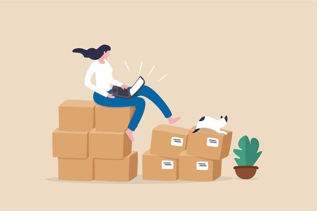 온라인 제품 판매, 전자 상거래 또는 인터넷 쇼핑, 소규모 비즈니스 또는 기업가 정신, 성공한 여성 기업가는 배송 준비가 된 상자 소포가 있는 컴퓨터에서 주문을 받습니다.