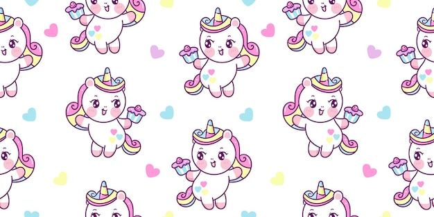Semaless pattern cute unicorn cartoon holding birthday cupcake for party kawaii animal