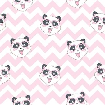 パンダは淡いピンクのsemalessパターンを負担します