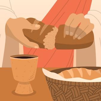 Semana santa with bread and wine Free Vector