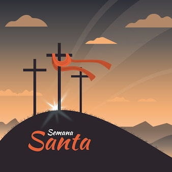 十字架を持つセマナサンタ