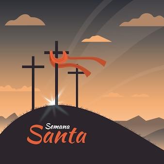 Semana santa with crosses