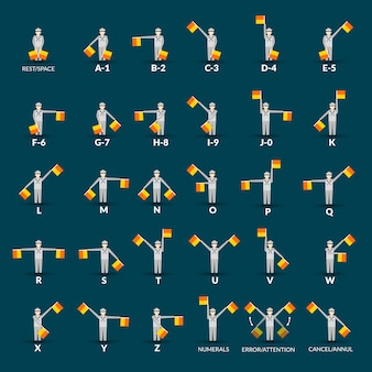 Semaphore alphabet icons set