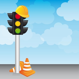 Semaphore with helmet and traffic cones over sky vector