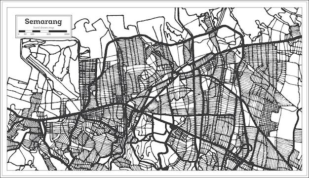 黒と白の色でスマランインドネシアの都市地図。白地図。ベクトルイラスト。